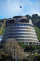 The Beehive, Wellington CBD, at 10.30am, Monday during Level 4 lockdown for the COVID-19 pandemic in Wellington, New Zealand on Monday, 30 August 2021.