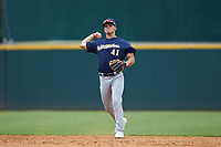 Shortstop Brady House (41) of Winder-Barrow HS in Winder, GA playing for the Milwaukee Brewers scout team during the East Coast Pro Showcase at the Hoover Met Complex on August 2, 2020 in Hoover, AL. (Brian Westerholt/Four Seam Images)