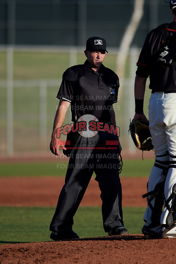 Home plate umpire Josh Williams during an Arizona League game between the AZL Angels and AZL Giants Black at the Giants Baseball Complex on June 21, 2019 in Scottsdale, Arizona. AZL Angels defeated AZL Giants Black 6-3. (Zachary Lucy/Four Seam Images)