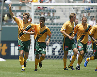 12 June 2004: Galaxy Andreas Herzog celebrates with team after scoring a first goal in the game against Chicago Fire at Home Depot Center in Los Angeles, California.    Los Angeles defeated Chicago Fire, 3-2.  Mandatory Credit: Michael Pimentel / ISI