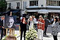 Pia MOUSTAKI, Florence BERTHOUT, Tante de Moustaki, Anne HIDALGO - Inauguration Place Georges Moustaki - 23/5/2017 - Paris - France