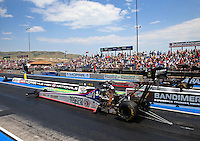 Jul. 20, 2014; Morrison, CO, USA; NHRA top fuel driver Antron Brown during the Mile High Nationals at Bandimere Speedway. Mandatory Credit: Mark J. Rebilas-