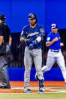 25 March 2019: Milwaukee Brewers shortstop Orlando Arcia at bat during an exhibition game against the Toronto Blue Jays at Olympic Stadium in Montreal, Quebec, Canada. The Brewers defeated the Blue Jays 10-5 in the first of two MLB pre-season games in the former home of the Montreal Expos. Mandatory Credit: Ed Wolfstein Photo *** RAW (NEF) Image File Available ***