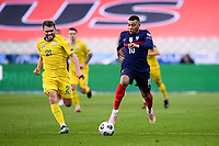 24th March 2021; Stade De France, Saint-Denis, Paris, France. FIFA World Cup 2022 qualification football; France versus Ukraine;  10 KYLIAN MBAPPE (FRA) breaks past OLEKSANDR KARAVAYEV (UKR)
