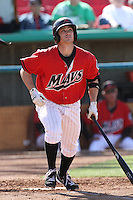 Jack Marder #3 of the High Desert Mavericks bats against the Stockton Ports at Stater Bros. Stadium on May 27, 2012 in Adelanto,California. High Desert defeated Stockton 6-5.(Larry Goren/Four Seam Images)