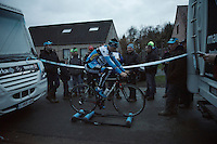 Kevin Pauwels (BEL/Marlux-Napoleon Games) warms down between campers after the race is done & the day is setting<br /> <br /> GP Sven Nys 2016