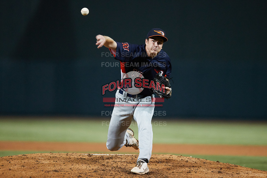 Bowling Green Hot Rods relief pitcher Nathan Witt (15) delivers a pitch to the plate against the Winston-Salem Dash at Truist Stadium on September 7, 2021 in Winston-Salem, North Carolina. (Brian Westerholt/Four Seam Images)