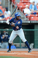 Durham Bulls outfielder Jason Bourgeois #33 during a game against the Buffalo Bisons on June 24, 2013 at Coca-Cola Field in Buffalo, New York.  Durham defeated Buffalo 7-1.  (Mike Janes/Four Seam Images)