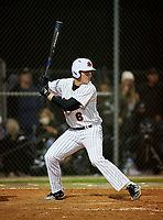 Sarasota Sailors Carter Hilton (6) bats during a game against the Riverview Rams on February 19, 2021 at Rams Baseball Complex in Sarasota, Florida. (Mike Janes/Four Seam Images)