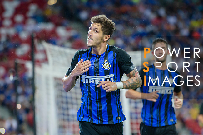 FC Internazionale Forward Stevan Jovetic celebrating his goal scored by penalty during the International Champions Cup 2017 match between FC Internazionale and Chelsea FC on July 29, 2017 in Singapore. Photo by Marcio Rodrigo Machado / Power Sport Images