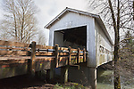 Crawfordsville Covered Bridge over the Calapooia River in Linn County, Oregon.  An open truss style bridge built 1932.