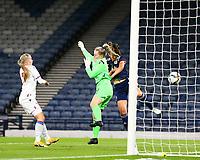 21st September 2021; Hampden Park, Glasgow, Scotland: FIFA Womens World Cup qualifying, Scotland versus Faroe Islands; Chloe Arthur of Scotland beats Oluva Allansdottir Joensen of Faroe Islands in the air to make it 3-0 in the 27th minute