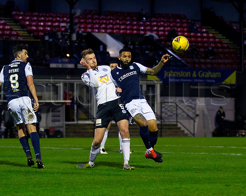 21st November 2020; Somerset Park, Ayr, South Ayrshire, Scotland; Scottish Championship Football, Ayr United versus Dundee FC; Alex Jakubiak of Dundee challenges for the ball with Sam Roscoe of Ayr United