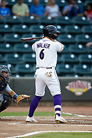 Steele Walker (6) of the Winston-Salem Dash at bat against the Lynchburg Hillcats at BB&T Ballpark on August 1, 2019 in Winston-Salem, North Carolina. The Dash defeated the Hillcats 9-7. (Brian Westerholt/Four Seam Images)