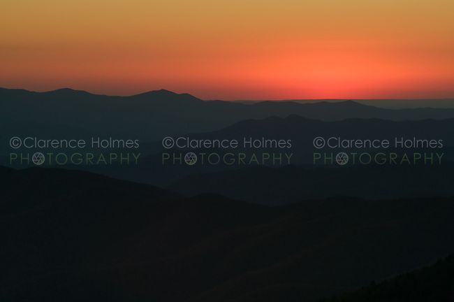 Southwestern sky minutes after sunset from Clingman's Dome, Great Smoky Mountains National Park