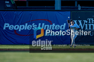 29 August 2019: Vermont Lake Monsters outfielder Shane Selman pull in a fly ball during a game against the Connecticut Tigers at Centennial Field in Burlington, Vermont. The Lake Monsters fell to the Tigers 6-2 in the first game of their NY Penn League double-header.  Mandatory Credit: Ed Wolfstein Photo *** RAW (NEF) Image File Available ***