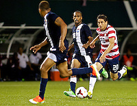 PORTLAND, Ore. - July 9, 2013: Alejandro Bedoya controls the ball against Belize. The US Men's National team plays the National team of Belize during the 2013 Gold Cup at at JELD-WEN Field.
