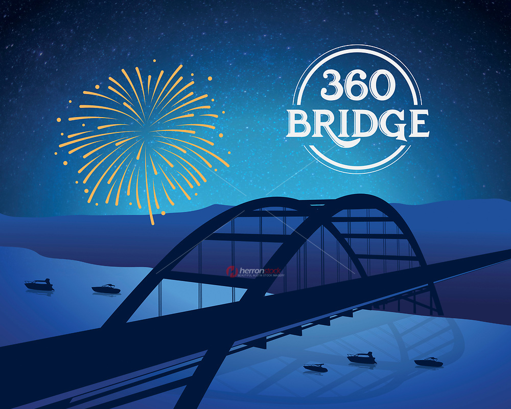 Austin Local Icons Series: 360 Pennybacker Bridge silhouette in blue.