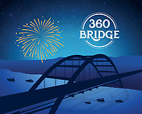 Austin Local Icons Series: 360 Pennybacker Bridge silhouette in blue.
