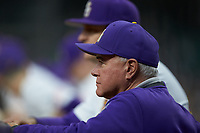 LSU Tigers head coach Paul Mainieri watches from the dugout during the game against the Texas Longhorns in game three of the 2020 Shriners Hospitals for Children College Classic at Minute Maid Park on February 28, 2020 in Houston, Texas. The Tigers defeated the Longhorns 4-3. (Brian Westerholt/Four Seam Images)