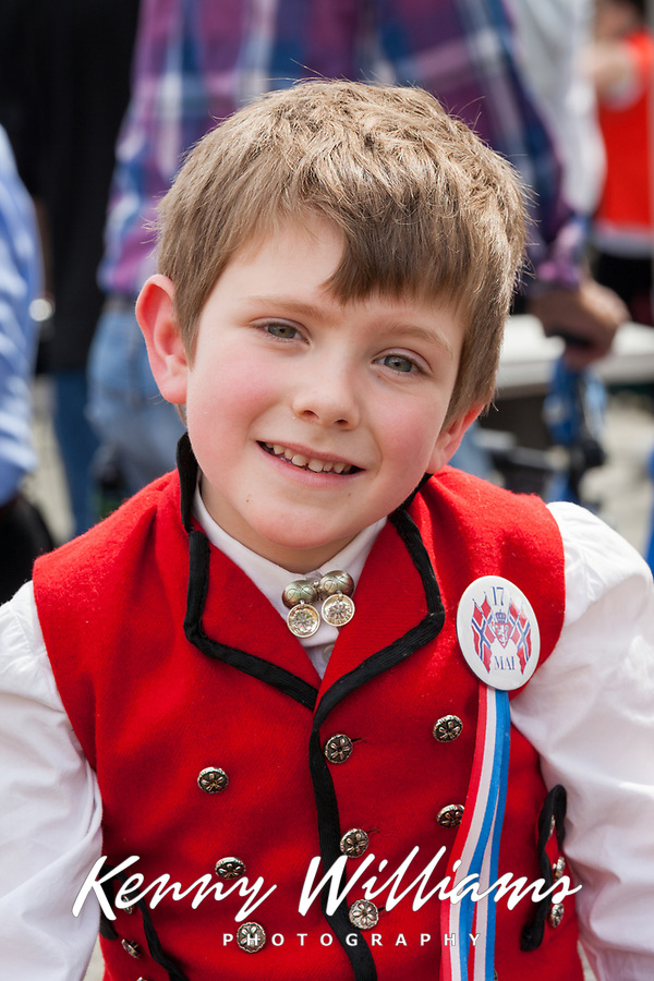 Boy wearing traditional Norwegian clothing, 17th of May Festival 2016, Ballard, Seattle, WA, USA.