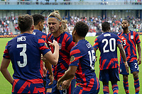 KANSAS CITY, KS - JULY 11: Sam Vines #3 of the United States scores a goal and celebrates with teammates during a game between Haiti and USMNT at Children's Mercy Park on July 11, 2021 in Kansas City, Kansas.