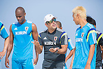 (L-R) Ozu Moreira,   Marcelo Mendes, Takasuke Goto (JPN),<br /> APRIL 20, 2014 - Beach Soccer :<br /> Beach Soccer Japan national team candidates training camp in Okinawa, Japan. (Photo by Wataru Kohayakawa/AFLO)