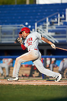 Auburn Doubledays third baseman Andres Martinez (32) at bat during the second game of a doubleheader against the Batavia Muckdogs on September 4, 2016 at Dwyer Stadium in Batavia, New York.  Batavia defeated Auburn 6-5. (Mike Janes/Four Seam Images)