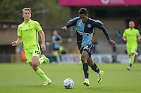 Jason Banton of Wycombe Wanderers heads forward during the Sky Bet League 2 match between Wycombe Wanderers and Hartlepool United at Adams Park, High Wycombe, England on 5 September 2015. Photo by Andy Rowland.
