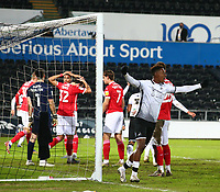 19th December 2020; Liberty Stadium, Swansea, Glamorgan, Wales; English Football League Championship Football, Swansea City versus Barnsley; Swansea City celebrate their second goal of the game from a Matt Grimes corner to make it 2-0 in the 66th minute