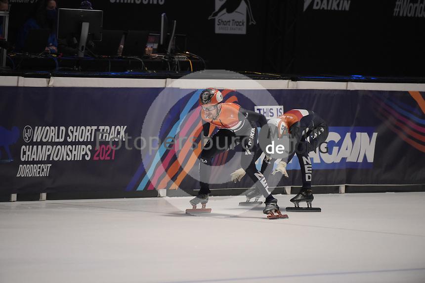 SPEEDSKATING: DORDRECHT: 06-03-2021, ISU World Short Track Speedskating Championships, SF 5000m Relay, Itzhak de Laat (NED), Sjinkie Knegt (NED), ©photo Martin de Jong