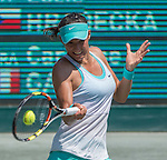 Caroline Garcia (FRA) loses to Lucie Hradecka (CZE) 5-7, 7-5, 6-4 at the Family Circle Cup in Charleston, South Carolina on April 9, 2015.