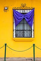 Antigua, Guatemala.  Window Decorated for Semana Santa.
