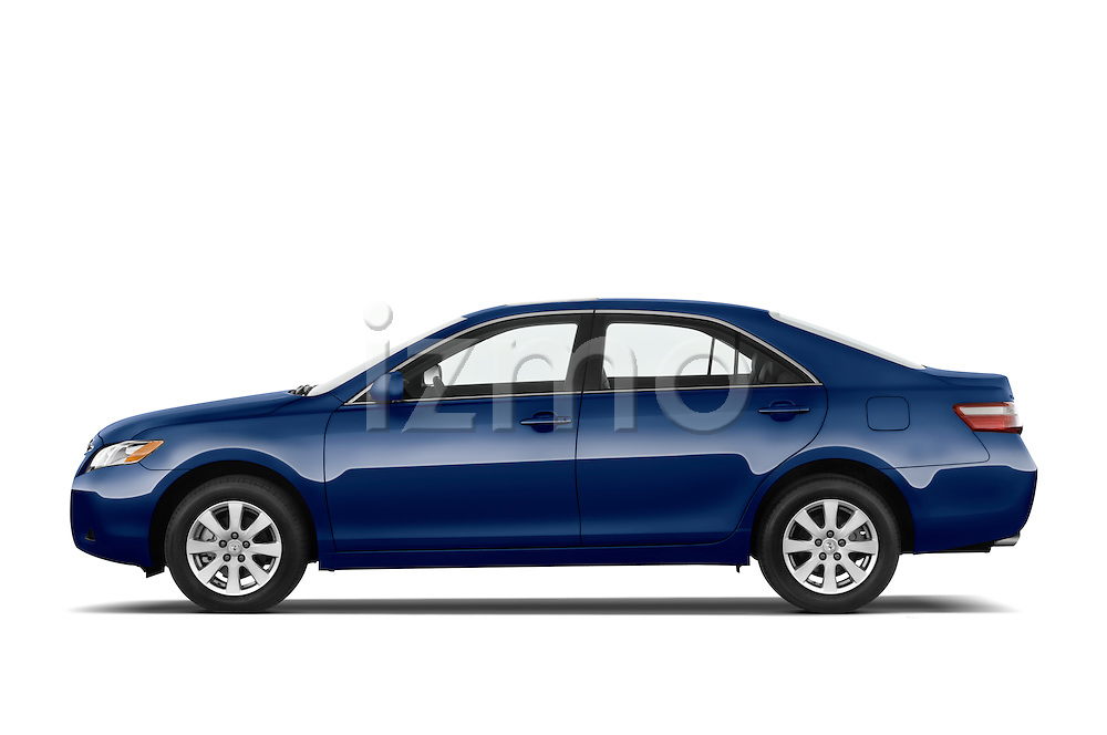 Driver side profile view of a blue 2008 Toyota Camry XLE.