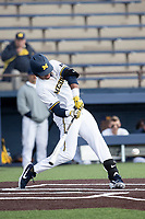 Michigan Wolverines designated hitter Jordan Nwogu (42) swings the bat against the Western Michigan Broncos on March 18, 2019 in the NCAA baseball game at Ray Fisher Stadium in Ann Arbor, Michigan. Michigan defeated Western Michigan 12-5. (Andrew Woolley/Four Seam Images)