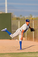 Victor Arano #54 of the AZL Dodgers throws in the bullpen before a game against the AZL Athletics at Phoenix Municipal Stadium on July 10, 2013 in Phoenix, Arizona. AZL Athletics defeated the AZL Dodgers, 7-1. (Larry Goren/Four Seam Images)