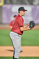 Idaho Falls Chukars starting pitcher Anthony Veneziano (49) during the game against the Ogden Raptors at Lindquist Field on August 9, 2019 in Ogden, Utah. The Raptors defeated the Chukars 8-3. (Stephen Smith/Four Seam Images)