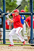 22 February 2019: Washington Nationals infielder Trea Turner takes batting practice during a Spring Training workout at the Ballpark of the Palm Beaches in West Palm Beach, Florida. Mandatory Credit: Ed Wolfstein Photo *** RAW (NEF) Image File Available ***