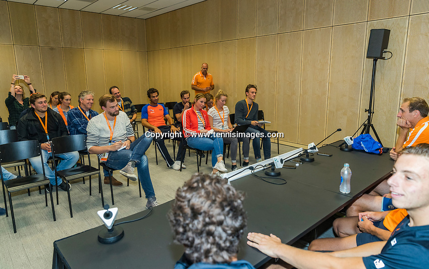 The Hague, The Netherlands, September 17, 2017,  Sportcampus , Davis Cup Netherlands - Chech Republic, pressconference Dutch team<br /> Photo: Tennisimages/Henk Koster