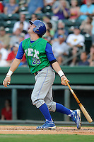 Catcher Cameron Gallagher (25) of the Lexington Legends in a game against the Greenville Drive on Monday, July 22, 2013, at Fluor Field at the West End in Greenville, South Carolina. Gallagher is the No. 15 prospect of the Kansas City Royals and was a second-round pick in the 2011 First-Year Player Draft. Lexington won, 7-3. (Tom Priddy/Four Seam Images)