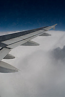 Airplane wing & clouds<br />