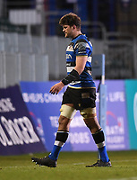 19th February 2021; Recreation Ground, Bath, Somerset, England; English Premiership Rugby, Bath versus Gloucester; Mike Williams of Bath leaves the field after receiving a red card from Referee Wayne Barnes