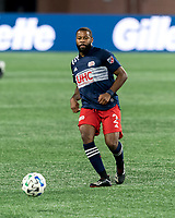 FOXBOROUGH, MA - OCTOBER 7: Andrew Farrell #2 of New England Revolution passes the ball during a game between Toronto FC and New England Revolution at Gillette Stadium on October 7, 2020 in Foxborough, Massachusetts.