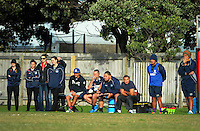 Petone coaching staff watch the Swindale Shield Wellington club rugby union match between Marist St Pat's and Petone at Evan's Bay Park, Wellington, New Zealand on Saturday, 14 May 2016. Photo: Dave Lintott / lintottphoto.co.nz