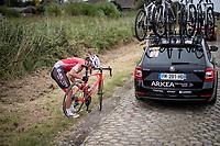 mechanical for Christina Schweinberger (AUT/Doltcini- Van Eyck - Proximus)<br /> <br /> Inaugural Paris-Roubaix Femmes 2021 (1.WWT)<br /> One day race from Denain to Roubaix (FRA)(116.4km)<br /> <br /> ©kramon