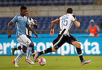 Calcio, Serie A: Lazio vs Udinese. Roma, stadio Olimpico, 13 settembre 2015.<br /> Lazio's Keita Diao, left, is challenged by Udinese's Thomas Heurtaux during the Italian Serie A football match between Lazio and Udinese at Rome's Olympic stadium, 13 September 2015.<br /> UPDATE IMAGES PRESS/Isabella Bonotto