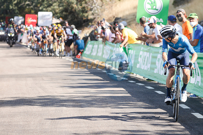 Miguel Angel Lopez Moreno (COL) on the final climb during Stage 14 of La Vuelta d'Espana 2021, running 165.7km from Don Benito to Pico Villuercas, Spain. 28th August 2021.     <br /> Picture: Luis Angel Gomez/Photogomezsport | Cyclefile<br /> <br /> All photos usage must carry mandatory copyright credit (© Cyclefile | Luis Angel Gomez/Photogomezsport)