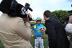 April 11, 2015: Arkansas Derby winning jockey Victor Espinoza being interviewed by local media at Oaklawn Park in Hot Springs, AR. Justin Manning/ESW/CSM