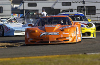.The Derhaag Motorsports Corvette exits the West Horseshoe Saturday evening...