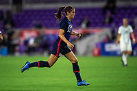 ORLANDO CITY, FL - FEBRUARY 24: Alex Morgan #13 of the USWNT running towards the ball during a game between Argentina and USWNT at Exploria Stadium on February 24, 2021 in Orlando City, Florida.